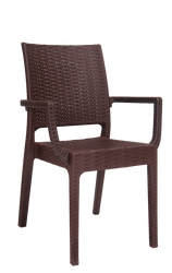 Outdoor wicker-look armchair in brown for your home, restaurant or bar seating area.