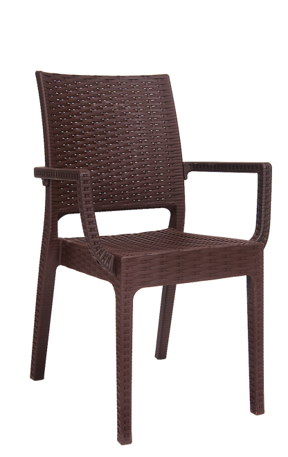 Elegant This Outdoor, Wicker Look, Resin Armchair In Brown Color Is Simple, Elegant