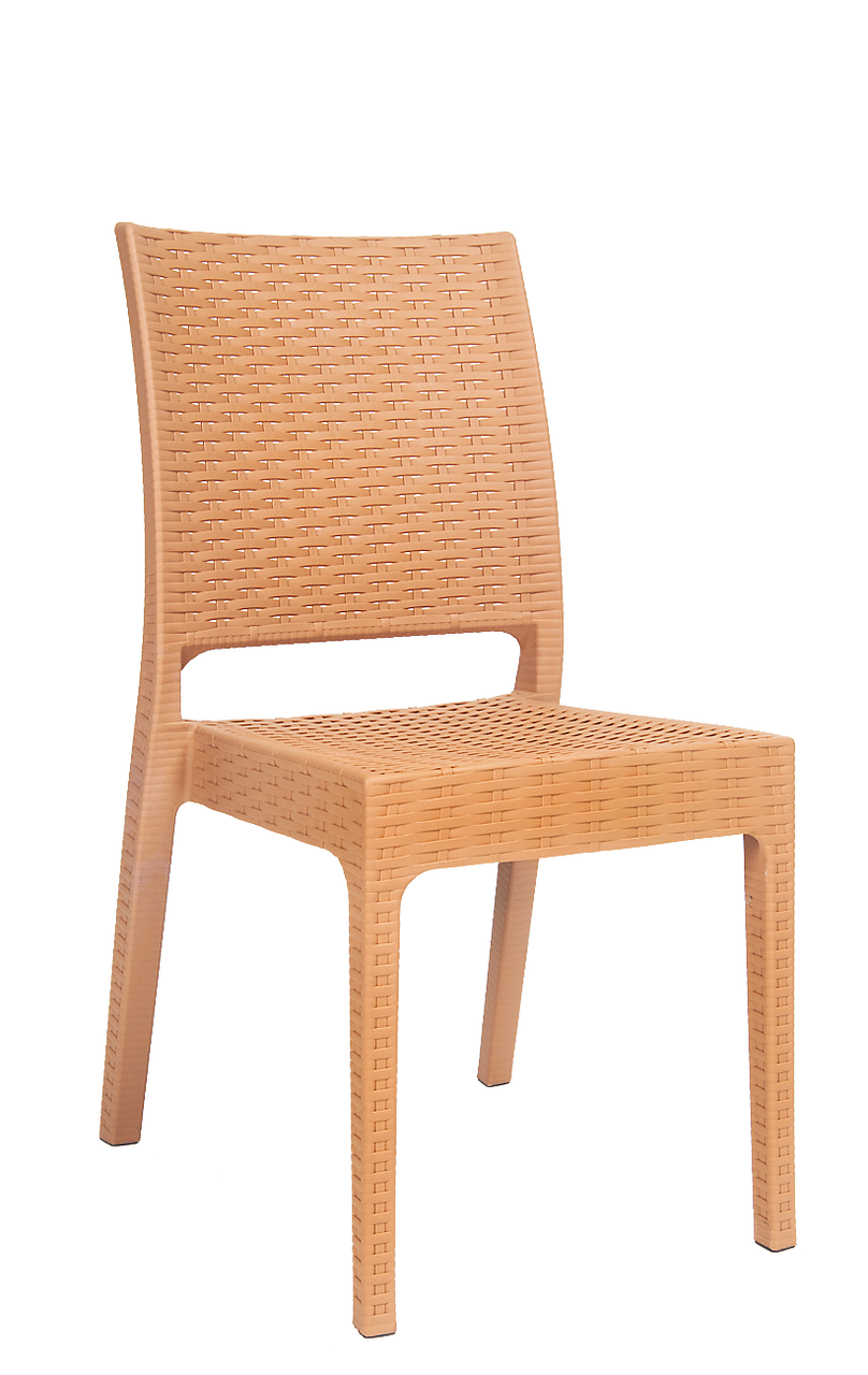 Wicker Look Resin Outdoor Side Chair In Camel Seats And
