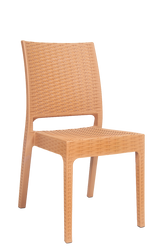 Outdoor wicker-look resin chair (no arms) in camel color for your home, restaurant or bar seating area.