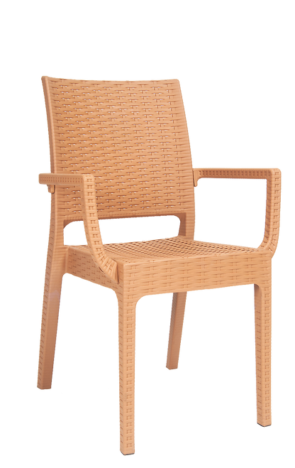 Wicker Look Resin Outdoor Armchair In Camel Seats And Stools