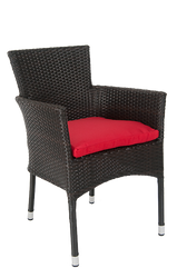 Outdoor, black synthetic armchair with aluminum frame and red cushion.