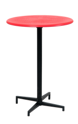 "30"" round indoor/outdoor metal folding table, bar height, in red finish.  Perfect for your home, restaurant, or bar seating area."