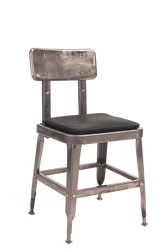 Indoor steel chair with clear-coat finish and black vinyl cushion for your bar, restaurant or home seating area.