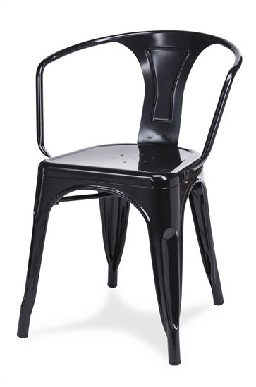 Beautiful Galvanized Steel Straight Arm Chair In Black | Seats And Stools