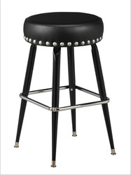 Square Bar Stool Base with Nickel-Spaced Nail Trim | Seats and Stools