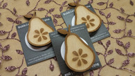Funky Wooden Brooch - Pear