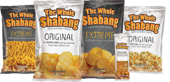 Whole Shabang Variety Pack   Includes:  2 Whole Shabang Original 6 oz. bags, 2 Whole Shabang Extreme 6 oz. bags, 2 Whole Shabang Extreme Crunchies 9.5 oz. bags, 2 Whole Shabang Popcorn 5 oz. bags, 4 Whole Shabang Peanuts 1.75 oz. bags