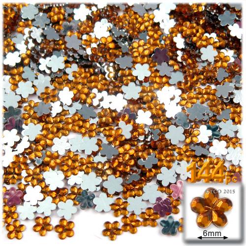 Rhinestones, Flatback, Flower, 6mm, 144-pc, Orange