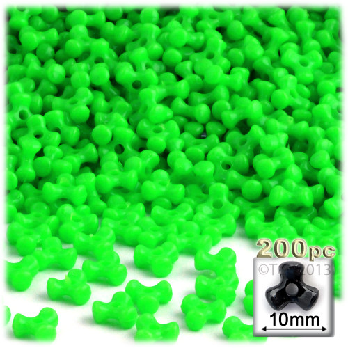 Tribeads, Opaque, Tribead, 10mm, 100-pc, Light Green