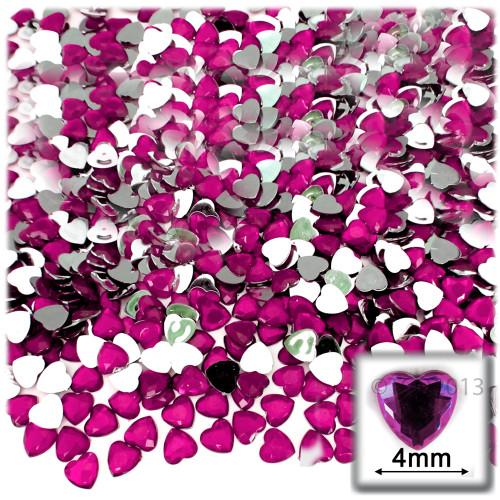 Rhinestones, Flatback, Heart, 4mm, 288-pc, Hot Pink