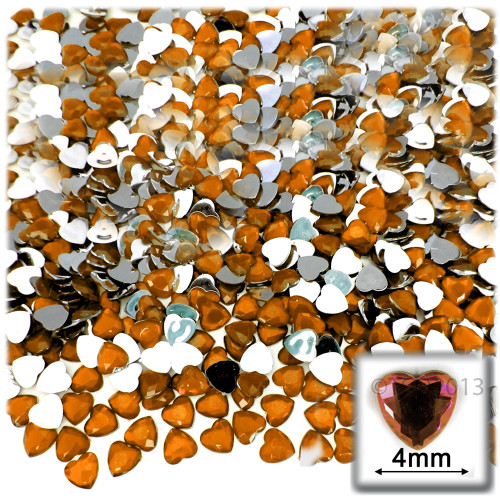 Rhinestones, Flatback, Heart, 4mm, 288-pc, Orange