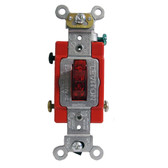 Leviton 1221-PLR - 20A, 120V Toggle Pilot Light Illuminated ON-Req. Neutral Single Pole AC Quiet Switch