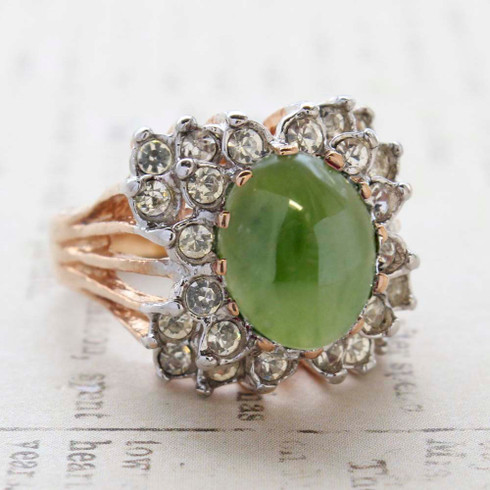 Vintage Jewelry Genuine Jade Cabochon Stone and Clear Crystal Cocktail Ring in 18kt Yellow Gold Electroplate Made in the USA