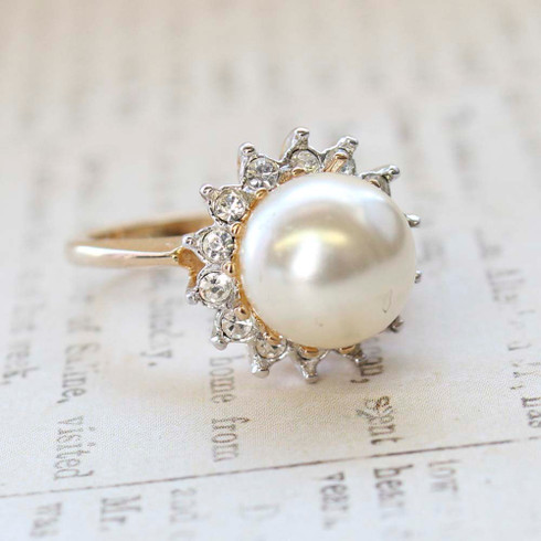 Vintage Ring Pearl Surrounded by Clear Austrian Crystals 18kt Gold Electroplate  Made in the USA