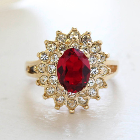 Vintage Jewelry Ruby Cubic Zirconia and Clear Austrian Crystals Cocktail Ring in 18kt Yellow Gold Electroplate Made in the USA