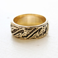 Laura Antiqued Gold Carved Leaf Band