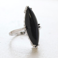 Vintage Genuine Onyx Ring 18k White Gold Electorplated Made in the USA