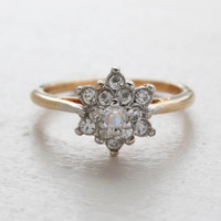 Vintage Jewelry Clear Crystal Flower Motif Cocktail Ring in 18k Yellow Gold Electroplate Made in the USA