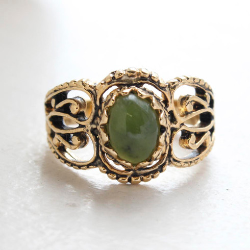 Vintage Jewelry Genuine Jade Ring 18kt Gold Antiqued Plating Made in the USA