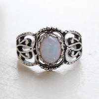 Vintage Jewelry Harlequin Opal Ring 18kt White Gold Antiqued Plating Made in the USA