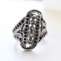 Delores Antiqued Genuine Marcasite Ring
