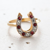 Vintage Horseshoe Ring with Ruby and Clear Austrian Crystals 18kt Gold Made in the USA