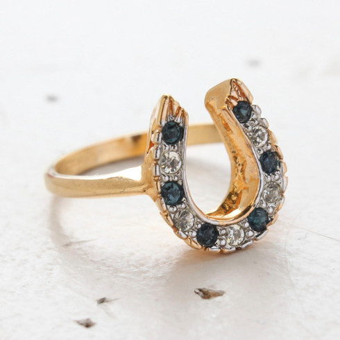 Vintage Horseshoe Ring with Sapphire and Clear Austrian Crystals 18kt Gold Made in the USA