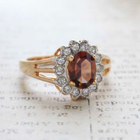 Vintage Jewelry Smoky Topaz CZ Surrounded by Clear Austrian Crystals Birthstone Ring
