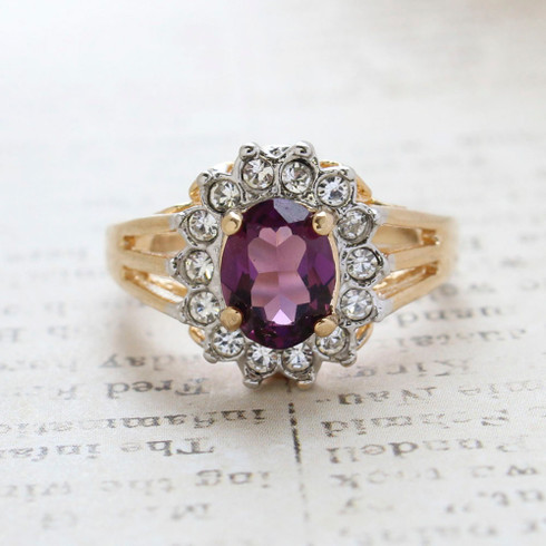Vintage Jewelry Amethyst CZ Surrounded by Clear Austrian Crystals  Birthstone Ring