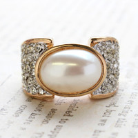Vintage Pearl Bead Cocktail Ring Clear Swarovski Crystals 18k Yellow Gold Electroplated Ring Made in USA