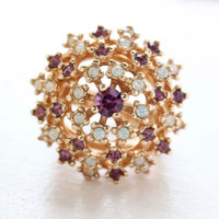Vintage Amethyst and Pinfire Opal Burst Ring 18k Yellow Gold Electroplated