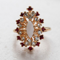 Vintage Ring Genuine Opal Surrounded by Clear and Ruby Austrian Crystals Cocktail Ring 18kt Yellow Gold Electroplated Made in USA