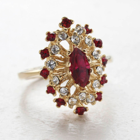 Vintage Ring Ruby Cz Surrounded by Clear and Ruby Austrian Crystals Cocktail Ring or 18kt Yellow Gold Electroplated Made in USA
