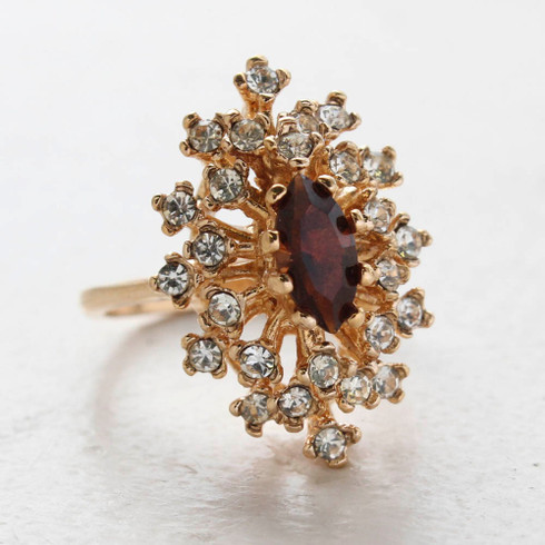 Vintage Ring Smoky Topaz Crystal Surrounded by Clear Austrian Crystals Cocktail Ring 18kt Yellow Gold Electroplated Made in USA