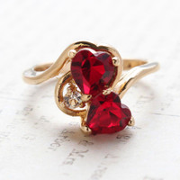 Vintage Jewelry Ruby Swarovski Crystal Double Hearts Ring 18k Yellow Gold Electroplated Made in USA