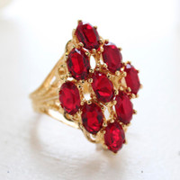 Norma Large Ruby Crystal Cocktail Ring