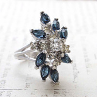 Vintage Jewelry Sapphire and Clear Swarovski Crystal Cocktail Ring 18k White Gold Electroplated Made in the USA