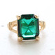 Vintage Ring Emerald Cut Emerald Austrian Crystal 18kt Gold Electroplated Ring Made in the USA May Birthstone
