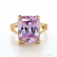 Vintage Jewelry Lavender Cubic Zirconia Cocktail Ring in a 18k Yellow Gold Electroplated Setting Made in the USA