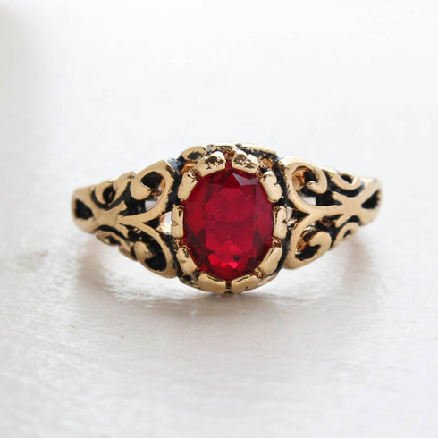 Vintage Ruby Crystal Ring 18k Gold Electroplated Birthstone Ring Made in USA