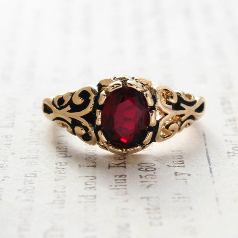 Vintage Garnet Crystal Ring 18k Gold Electroplated Birthstone Ring Made in USA