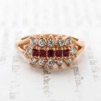 Sophia Ruby and Clear Crystal Cocktail Ring