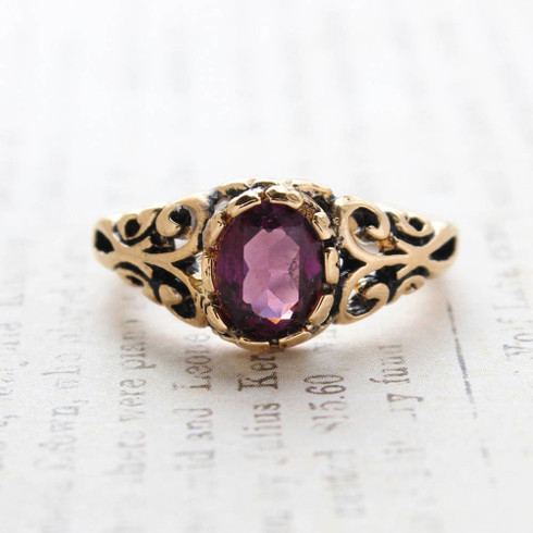 Vintage Amethyst Crystal Ring 18k Gold Electroplated Birthstone Ring Made in USA