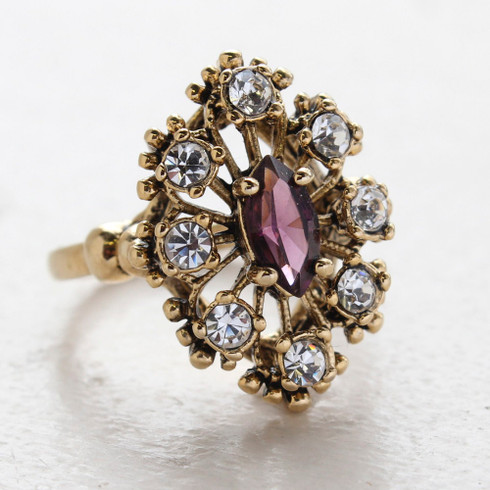 Vintage Ring Amethyst Cz Surrounded by Clear Austrian Crystals Cocktail Ring or Birthstone Ring 18kt Antiqued Gold Electroplated Made in America