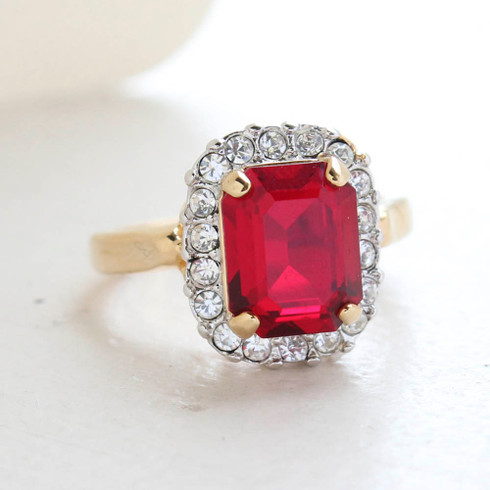 Vintage Jewelry 18k Yellow Gold Plated Ruby Crystal Cocktail Ring Made in the USA July Birthstone