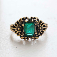 Vintage Ring Emerald Cut Emerald Cz 18kt Antiqued Yellow Gold Plated Filligre Ring Made in the USA July Birthstone