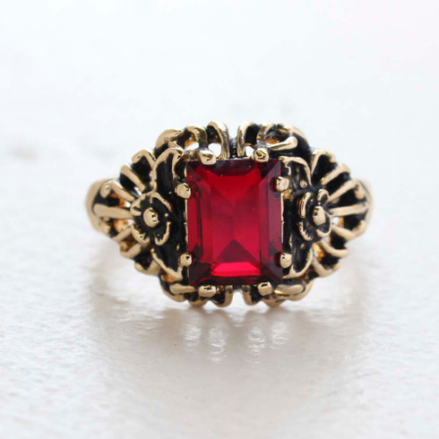 Vintage Ring Emerald Cut Ruby Cz 18kt Antiqued Yellow Gold Plated Filligre Ring Made in the USA July Birthstone
