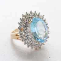 Vintage Jewelry Aquamarine and Clear Swarovski Crystal Cocktail Ring 18kt Gold Electroplate Made in the USA