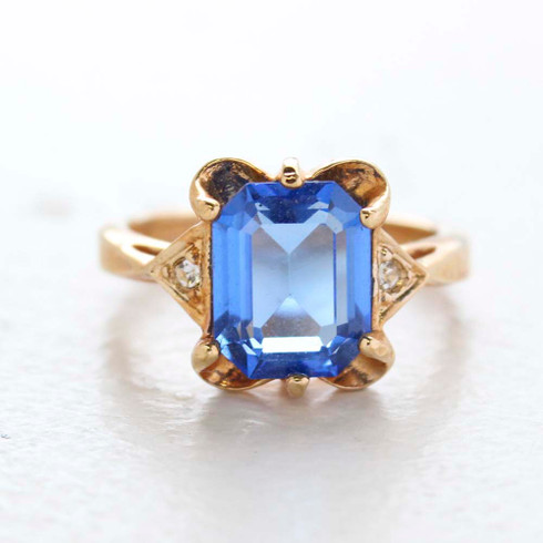 Vintage Ring Emerald Cut Blue Topaz Cz 18kt Gold Plated Ring Made in the USA December Birthstone
